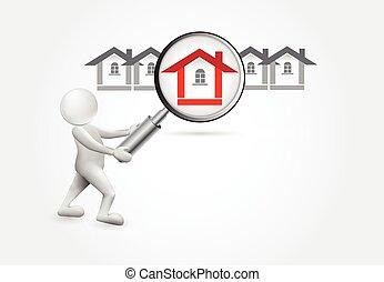casa pequena, -3d, procurar, pessoas