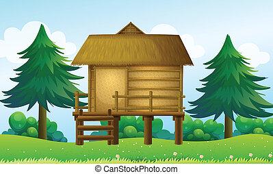 casa pequena, topo, colina