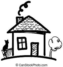 casa, pequeno, caricatura