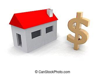 casa, pequeno, sinal dólar