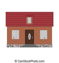 casa, pequeno, tijolo