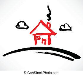 casa, pequeno, vermelho