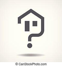 casa, pergunta, ícone
