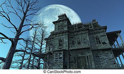 casa perseguitata, pieno, -, luna