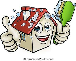 casa, personagem, limpeza, caricatura