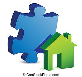 casa, pezzo enigma, illustrazione