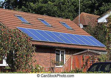 casa, photovoltaic, painel solar