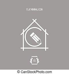 casa, pianificazione, -, disegno progetto, -, vettore,...