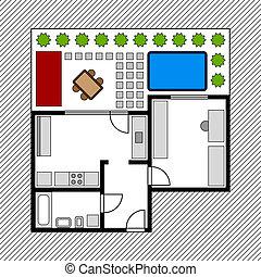 casa, piano, vettore, giardino, pavimento