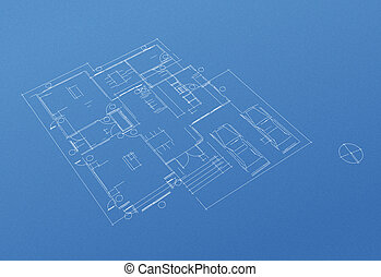 casa, pianta di sistemazione, cianografia