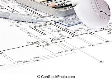 casa, pianta di sistemazione, cianografie, e, disegno, attrezzi, closeup