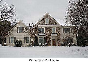 casa, piedra, apartadero, nieve, agradable
