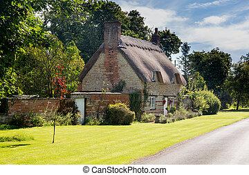 casa, piedra, cotswold, viejo, honington