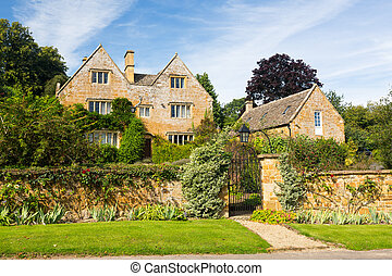 casa, piedra, cotswold, viejo, ilmington