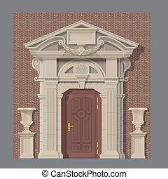 casa, piedra, vector, entrada, imagen