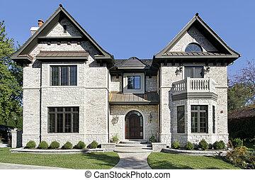 casa, pietra, lusso, balcone