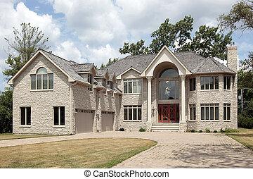 casa, pietra, lusso, colums