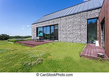 casa, pietra, moderno, terrazzo