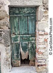 casa pietra, wall., vecchio, italia, legno, lago, garda., entrata, village., cencioso, porta