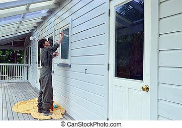 casa, -, pintura, trabajando