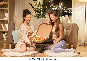 casa, pizza, amici, femmina, felice