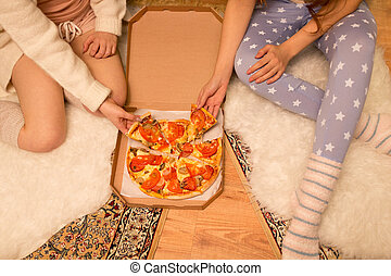 casa, pizza, felice, amici, femmina, mangiare
