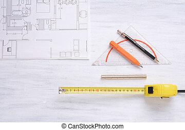 casa, plan, con, tools., arquitectura, concept.