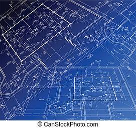 casa, plan., vector, cianotipo