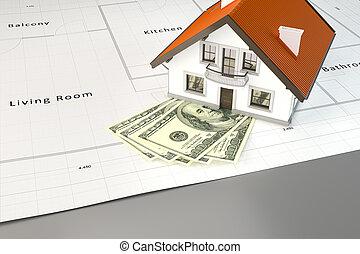 casa, planificação, construir, dinheiro