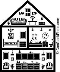 casa, planificación, icono