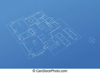 casa, plano, cianotipo