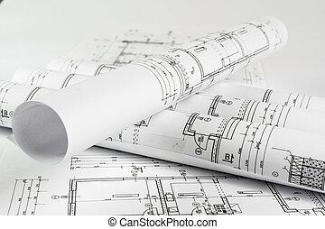casa, planos, cima, arquiteta, fim, rolos