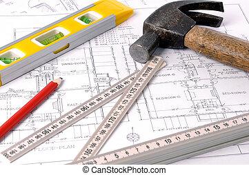 casa, planos, y, herramientas