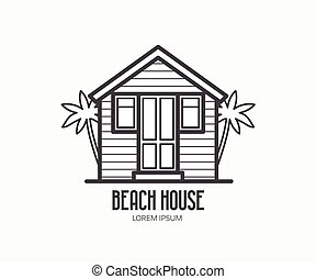 casa, playa, logotype