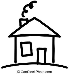 casa, poco, caricatura