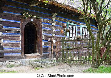 casa, Polonia, viejo, abandonado, aldea