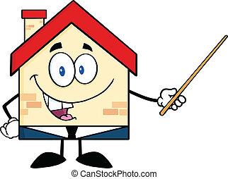 casa, ponteiro, negócio, segurando