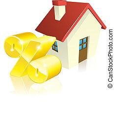 casa, porcentagem, conceito, hipoteca