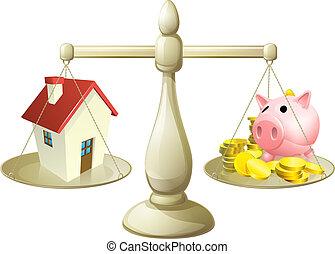 casa, poupança, conceito, escala, ou
