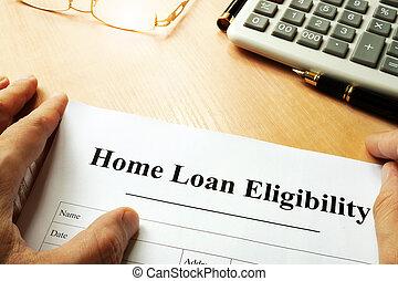 casa préstamo, eligibility., documento, título