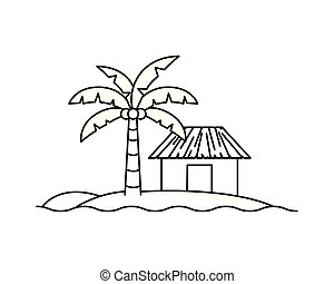 casa, praia branca, silueta, fundo