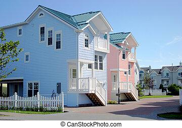 casa praia, cor-de-rosa, azul, &