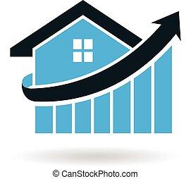 casa, preço, espiga, logotipo