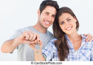 casa, presa a terra, moglie, uomo, keychain, chiave