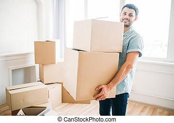 casa, prese, scatole, spostamento, nuovo, mani, uomo