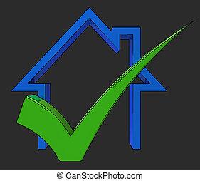 casa, prestito, vendita, approvato, casa, assegno, mostra