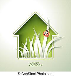 casa, primavera, templ, verde, convite