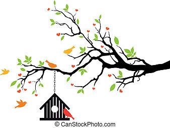 casa, primavera, vector, pájaro, árbol