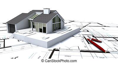 casa, primer plano, planificación
