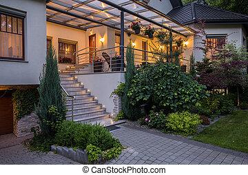 casa, principal, lujoso, entrada